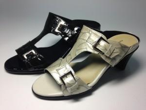 婦人靴 レディースシューズ モールドソール・ローズ革 ダブル金具付きミュール