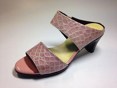 婦人靴 レディースシューズ ミュール クロコ型押し革 本革 痛くない靴 yuriko matsumoto